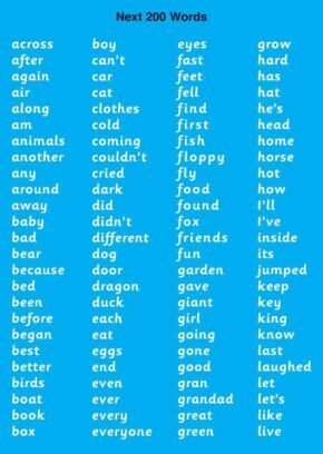 CHILD'S HF WORDS CHART (NEXT 200 WORDS)