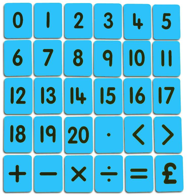 CHILD'S 0-20/FUNCTIONS CARD SET - BLUE