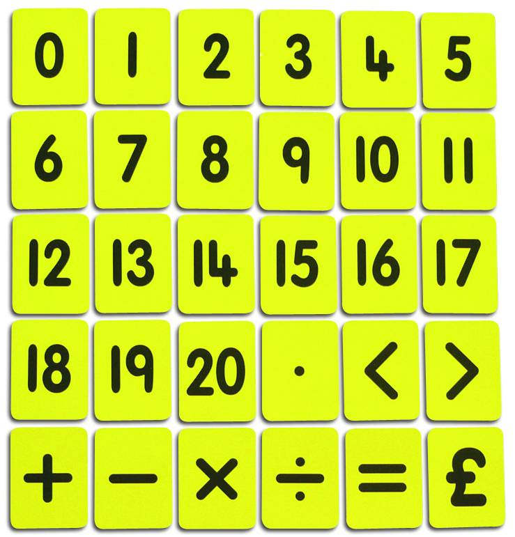 CHILD'S 0-20/FUNCTIONS CARD SET - YELLOW