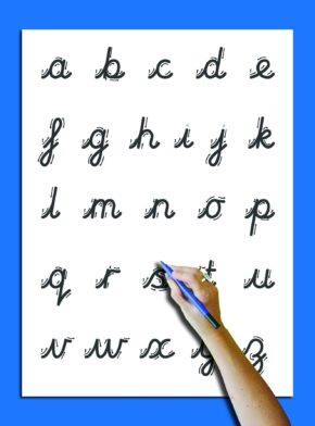 WRITE 'N' WIPE POSTER/PEN - CURSIVE
