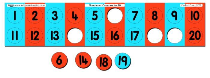 NUMBER TRACK WITH POP-OUT COUNTERS TO 20