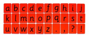 CHILD'S ALPHABET CARDS - LOWER CASE (RED)
