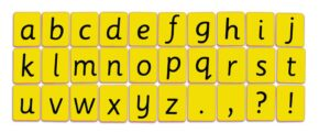 CHILD'S ALPHABET CARDS - LOWER CASE (YELLOW)