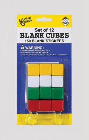 PACK OF 12 BLANK DICE AND STICKERS